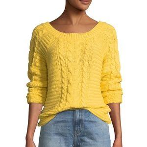 ** Rebecca Minkoff Juna Cable Knit Sweater Yellow